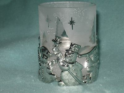 Gorham Silvewr Plated Snowman Votive Holders New MIB