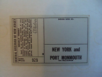 Central Railroad of New Jersey- Weekly Ticket-NY and Port Monmouth-unissued