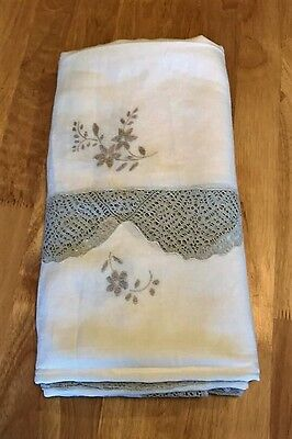 Vintage Large Embroidered Linen Ecru on White Antique Tablecloth 67 by 106