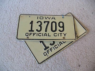 Iowa Vintage Official City License Plates MATCHING PAIR