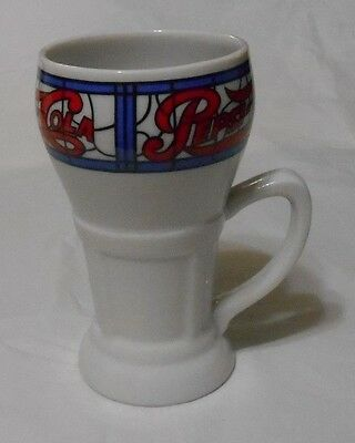 Pepsi Cola Ceramic Mug Cup with Stained Glass Design - old Soda Fountain look