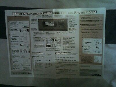 Dolby CP500 Operating Instruction Wall Chart For Projectionists