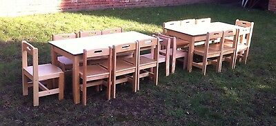 2 tables & 14 sturdy wooden chairs for children's pre-school nursery classroom