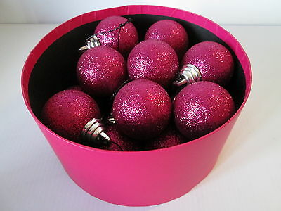 Set of 16 Bright Pink Glitter Christmas Baubles