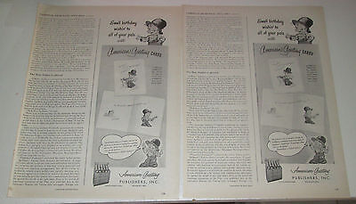 1946 original ad American Greeting Cards cute Boy for Birthday Cards 1/2 page