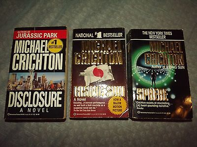 Michael Crichton Lot Of 3 Paperback Books Used