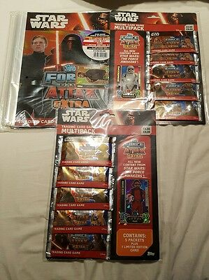Star Wars Force Attax Extra 2 Multipacks + 1 binder pack all sealed new.