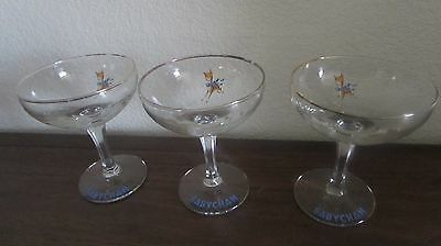 Vintage Early 1960's Babycham  Set Of 3  Hexagonal Stemmed Glasses Vgc