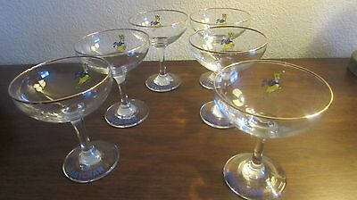 1970's Babycham  Set Of Six Glasses Vgc