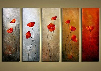 Hand Paint Abstract Canvas Oil Painting Home Wall Art Decor Flowers 5PCS Framed
