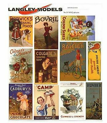 World War 2 Adverts Med Paper Reproductions old Enamel Signs OO Scale 1:76 SMF30