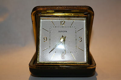 VINTAGE EUROPA 2-JEWEL Art Deco Clam shell Alarm travel Clock.MADE IN GERMANY