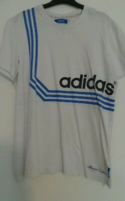 Size L Adidas Mens white t-shirt with blue stripes - Allcourt addition