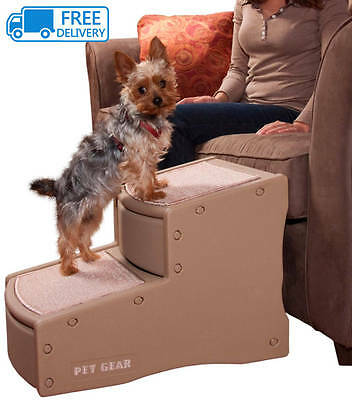 Pet 2 Step Stairs Tan Pets Easy Access Sofa Bed Dogs Cats Tan Removable carpet