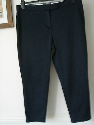 Lovely M&S navy cotton cropped trousers size 16 and excellent condition
