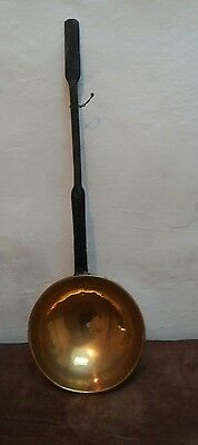 Antique brass and iron large draining ladle, strainer, slotted spoon.