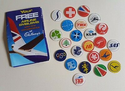Cadbury Airline Emblems - Collection of 23 plastic 1974 Emblems (24th missing)