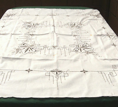 """Hand Embroidered Floral Grapes Beige Cotton Tablecloth Tea Cloth 50"""" Square"""