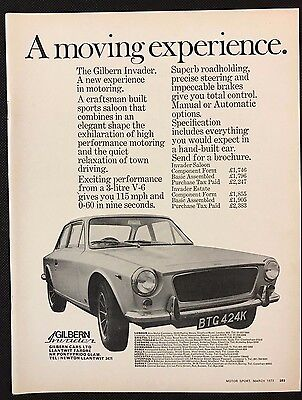 Vintage 1972 Motor Sport Magazine Advert - GILBERN INVADER, A Moving Experience
