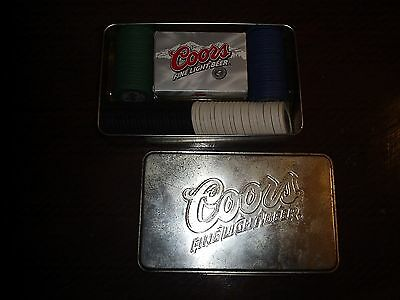 Vintage Coors Beer gambling poker cards and chips in box