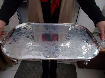 Large Viners Silver Plated Tray Elegant Ball & Claw Feet Downton Abbey Style