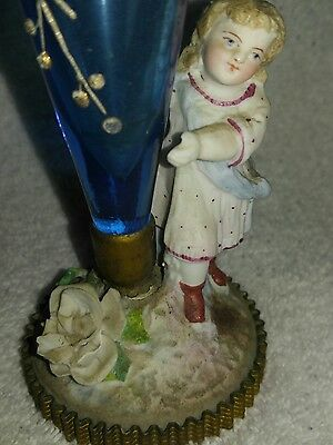 Antique Victorian PAINTED Vase PORCELAIN BASE WITH CRIMPED GOLD RING