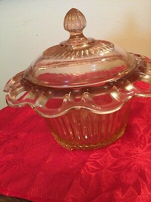 OPEN LACE PINK Old Colony Depression Glass  Flower Candy Jar/Lid Anchor Hocking