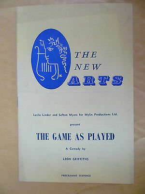 The New Arts Theatre Programme:B Dickson in THE GAME AS PLAYED by Leon Griffiths