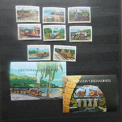 Grenada 1984 Locomotives  set + 2  m/s MNH.