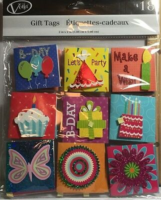 Crafts Voila 18 Gift Tags Mini Cards Stickers Stick Ons Birthday Party Celebrate
