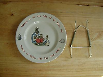Charles and Diana's first baby plate Wedgewood Beatrix Potter with plate hanger