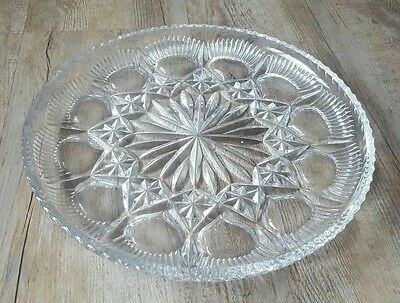 Glass Shallow Bowl Tray Dish - Clear Thistles Stars Design