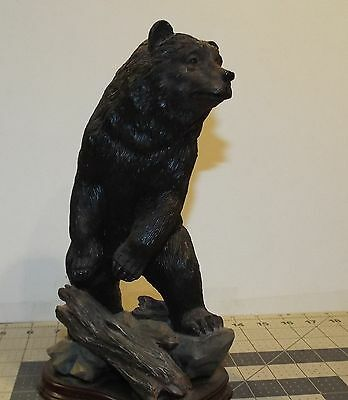 "Standing Black Bear Statue Figurine 10.5"" high total"