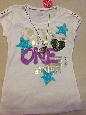 Justice Girls New Nwt Size 10 Love One Another Necklace Short Sleeve Top