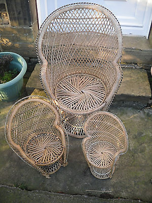 Set of 3 Dolls Wicker Peacock Chairs Graduating in Size
