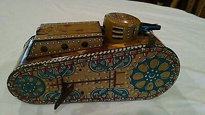Vintage Marx Tin Friction Wind up Tank with pop up soldier