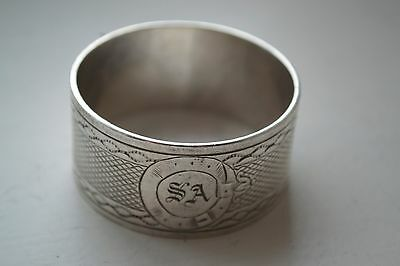 Antique Napkin Ring Engine Turned Decoration with SA Monogrammed