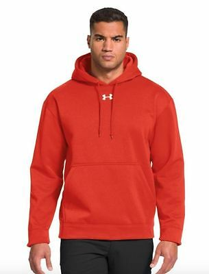 NWT Under Armour Men's Armour Fleece Team Hoodie SMALL 1237619 Orange Retail $50