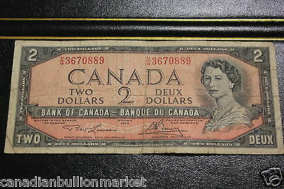 1954 Bank Of Canada $ 2 Two Dollar Bill Banknote Paper Money