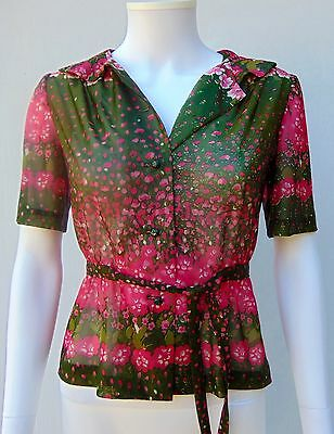 Vtg 60s 70s Green Pink Semi Sheer Floral Boho Hippie Blouse Top Dress Shirt S