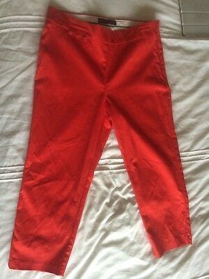 Ladies Marks And Spencer's red 3/4 Cropped Trousers Size 10
