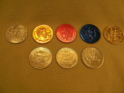 EIGHT DIFFERENT Vintage 1974 New Orleans Mardi Gras Tokens - WERE YOU THERE ???