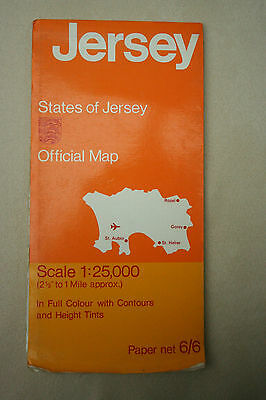 "Vintage1970 Channel Island STATES OF JERSEY Tourist MAP 1:25,000 2.5"" to 1 Mile"