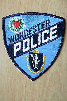 Patches: WORCESTER MASSACHUSETTS RED HEART POLICE PATCH (NEW,apx.4.2x4 inch)