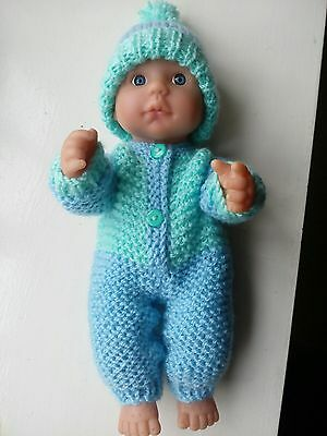 knitted dolls clothes onsie and bobble hat to fit 10 inch doll.