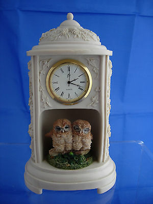 Country Artists Owl mantel Clock, WORKING  c1993