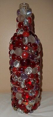 Handcrafted Lighted WINE BOTTLE covered with Red White & Clear Stones Valentine