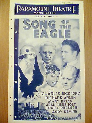 1933 Rare Cinema Programme from. Paramount Theatre Manchester:Song of the Eagle
