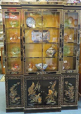 Vintage Quality Lighted Drexel Asian Oriental Breakfront/china Closet Curio/