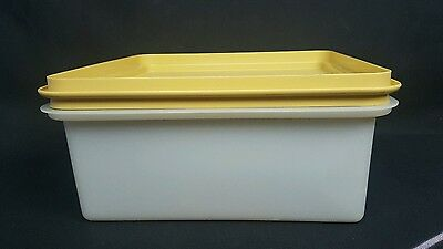 Vtg Tupperware Square Cake Taker Havest Gold #1241 w Sheer Lid #1242